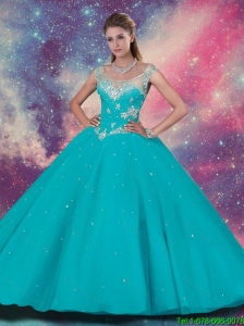 Top Sller Scoop Quinceanera Dresses with Beading and Appliques in Turquoise