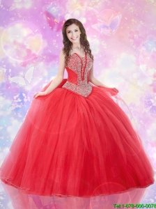 2015 Popular Sweetheart Beaded Dress for Quince in Tulle