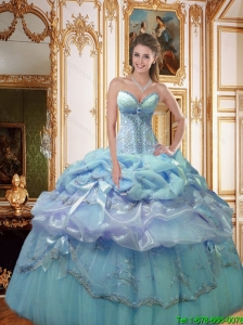 2016 Luxurious Bowknot and Appliques Quinceanera Dresses in Light Blue