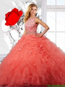 Beautiful Beaded and Ruffles Quinceanera Dresses in Orange Red for 2016