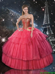 Decent Ball Gown Coral Red Sweet 16 Dresses with Hand Made Flowers