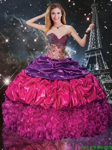 Discount Multi Color Sweetheart Quinceanera Dresses with Beading and Pick Ups
