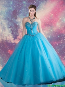 Elegant Sweetheart Beaded and Sequins Sweet 16 Dresses in Blue