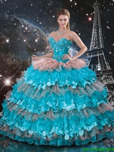 Luxurious Ruffled Layers Sweetheart Quinceanera Dresses with Appliques
