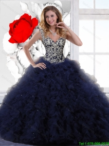 New Style Appliques and Ruffles Quinceanera Dresses in Navy Blue