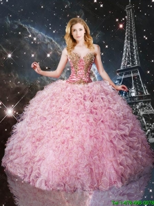 Perfect Beaded Pink Sweetheart Quinceanera Dresses with Ruffles