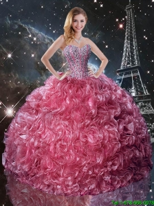 Popular Ball Gown Sweetheart Sweet 16 Dresses with Ruffles and Beading