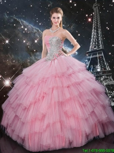 Pretty Beaded Strapless Pink Sweet 16 Dresses with Floor Length
