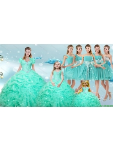 2016 Perfect Ruffles and Beaded Quinceanera Dress and Aqua Blue Short Dama Dresses and Cute Scoop Little Girl Dress