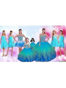 Perfect Beaded Multi Color Quinceanera Dresses and Aqua Blue Dama Dresses and Cute Straps Little Girl Dresses and Sexy Short Prom Dresses