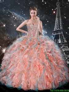 2015 Spring Pretty Ruffles and Beaded Quinceanera Dresses in Multi Color