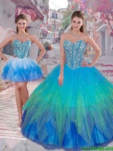 2015 Summer Popular Ball Gown Detachable Quinceanera Dresses in Multi Color