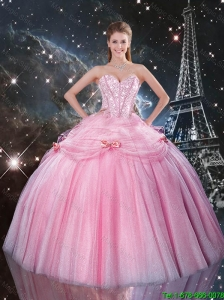 2016 Summer Cheap Rose Pink Sweet 16 Dresses with Beading and Bowknot