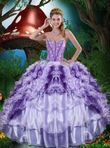 2016 Summer Cheap Sweetheart Quinceanera Dresses with Beading and Ruffles