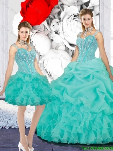 Elegant 2015 Winter Straps Ball Gown Detachable Quinceanera Dresses in Turquoise