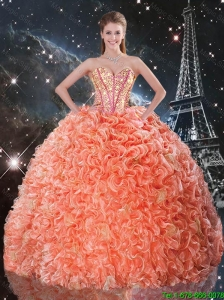 Fashionable 2015 Fall Beaded and Ruffles Quinceanera Dresses with Brush Train