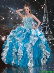 Luxurious 2015 Fall Beaded White and Blue Sweet 16 Gowns with Ruffles