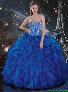 Popular 2015 Summer Royal Blue Quinceanera Dresses with Beading and Ruffles