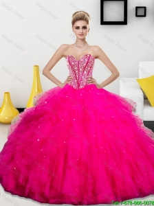Pretty Beading and Ruffles Sweetheart 2015 Quinceanera Dresses