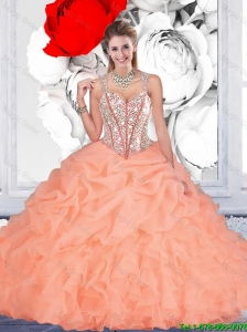 2016 Fall Elegant Orange Ball Gown Straps Quinceanera Dresses with Beading