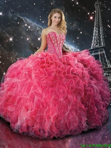 2016 Fall New Style Coral Red Sweetheart Quinceanera Dresses with Beading and Ruffles
