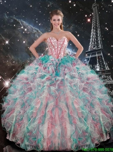 2016 Fall New Style Sweetheart Beaded and Ruffles Quinceanera Gowns in Multi Color