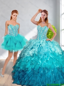 2016 Fall New Style Sweetheart Detachable Quinceanera Dresses in Multi Color