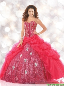 2016 Fall New Style Sweetheart Sweet 16 Dresses with Sequins and Beading