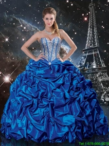 2016 Spring Luxurious Royal Blue Quinceanera Dresses with Beading and Pick Ups