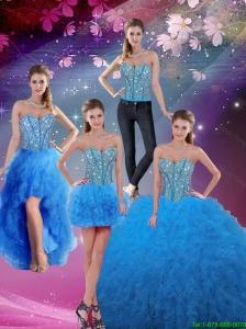 2016 Spring Pretty Sweetheart Floor Length Beaded Detachable Quinceanera Dresses