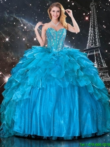2016 Summer Cheap Ball Gown Beaded Detachable Quinceanera Gowns in Blue