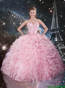 2016 Summer Cheap Ball Gown Pink Quinceanera Dresses with Ruffles and Beading