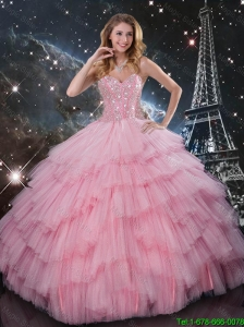 2016 Summer Cheap Beaded Ball Gown Pink Quinceanera Dresses with Floor Length
