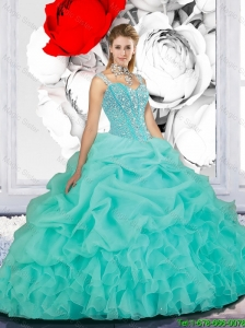 2016 Summer Cheap Beaded Ball Gown Straps Quinceanera Dresses in Turquoise