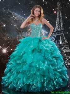 2016 Summer Discount Brush Train Turquoise Quinceanera Dresses with Beading and Ruffles
