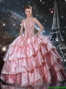 2016 Summer Discount Sweetheart Beaded Quinceanera Gowns in Baby Pink