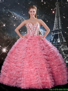 2016 Summer Popular Ball Gown Beaded Rose Pink Quinceanera Dresses with Ruffles