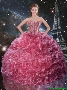 2016 Winter Perfect Ball Gown Coral Red Quinceanera Dresses with Ruffles and Beading