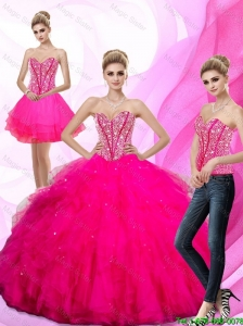 2016 Winter Perfect Beading and Ruffles Sweetheart Quinceanera Dresses