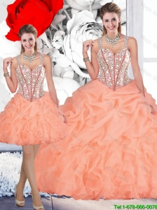 2016 Winter Perfect Straps Orange Detachable Quinceanera Dresses with Beading