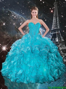 2016 Winter Perfect Sweetheart Teal Quinceanera Gowns with Ruffles and Beading