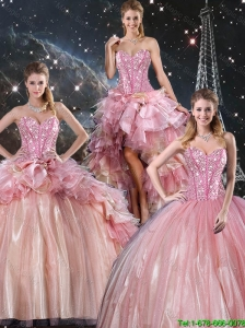 Beautiful 2016 Winter Ball Gown Beaded Tulle Detachable Sweet 16 Dresses with Belt