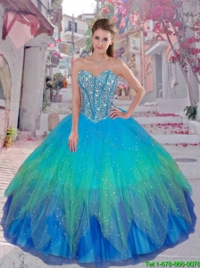Discount 2016 Winter Beaded Ball Gown Quinceanera Dresses