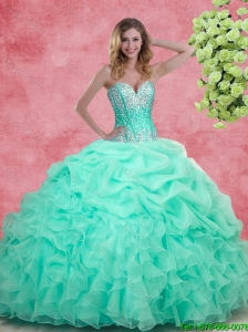 2016 Elegant Summer Apple Green Quinceanera Dresses with Beading and Ruffles