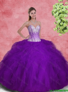 2016 Popular Sweetheart Beaded and Ruffles Sweet 16 Dresses in Purple