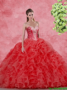 Discount Beaded Red Quinceanera Gowns for 2016 Spring