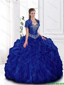 Elegant Beaded and Ruffles Quinceanera Gowns in Royal Blue