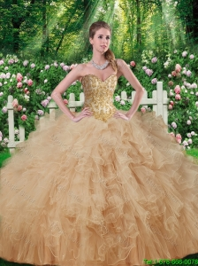 Elegant Beaded and Ruffles Sweetheart Quinceanera Dresses for 2016