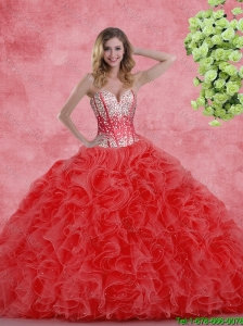 2016 Pretty Sweetheart Beaded Quinceanera Dresses with Ruffles