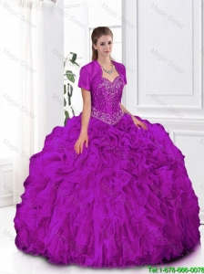 Most Popular Fuchsia Sweetheart Quinceanera Gowns with Beading